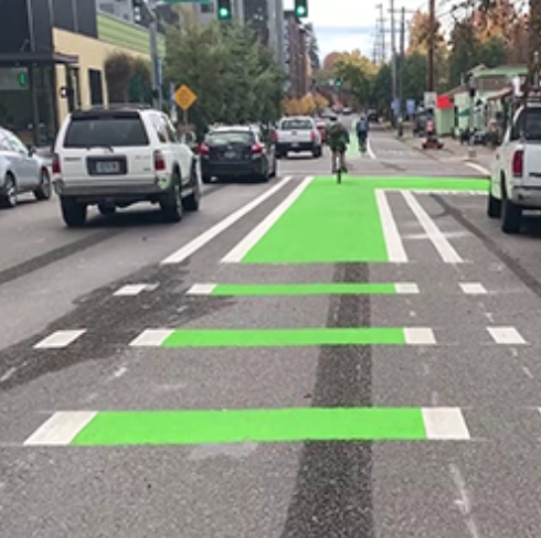 Protected bike lane going through an intersection