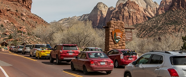Cars line up to enter Zion National Park