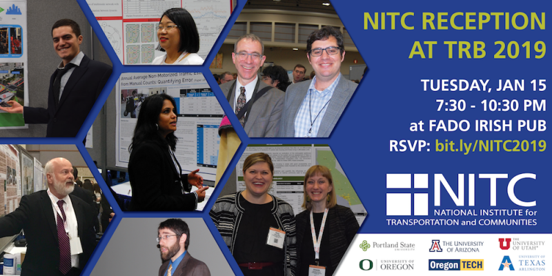 2019 annual NITC Reception at TRB 2019 on January 15 from 7:30 - 10:30 PM at Fado Irish Pub