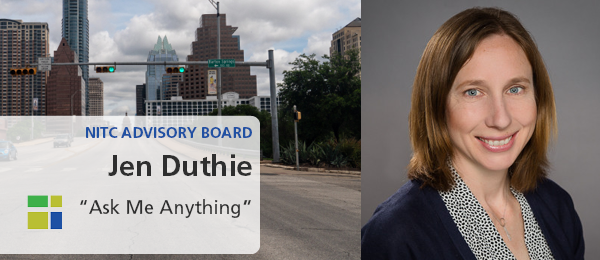 NITC Advisory Board, Jen Duthie, Ask Me Anything. Left image: Green traffic lights at Congress Avenue in Austin, Texas during mid morning with storm clouds in the sky. Right Image: Jen Duthie with shoulder-length brown hair wearing a dark jacket with blac