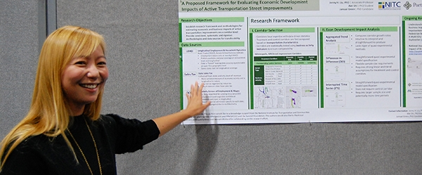 Jenny Liu presents a poster at TRB 2019