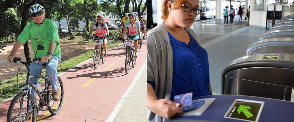 Left: Bicycles on a trail; Right: Young woman buying transit pass