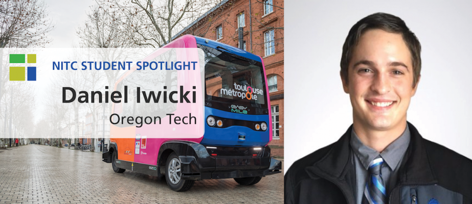 Student Spotlight Banner, Daniel Iwicki next to an automated bus