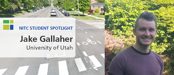 "Jake Gallaher, alongside a photo of a bike lane at an intersection in Salt Lake City, Utah. Text reads, ""Student Spotlight: Jake Gallaher, University of Utah."""