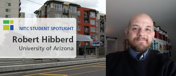 Robert Hibberd (headshot) alongside a photo of affordable housing near a transit station