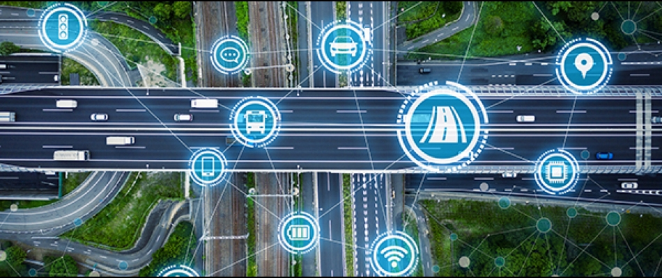 Connected Vehicles Illustration showing icons of wifi over a road