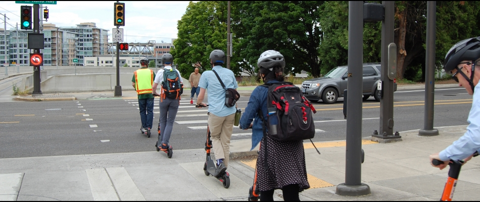 People on e-scooters